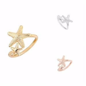Gold Starfish Adjustable Spiral Ring
